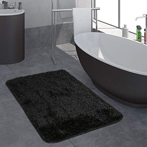 Modern Hoogpolig Badkamervloerkleed Effen Badmat Anti-Slip In Zwart, Maat:50x80 cm