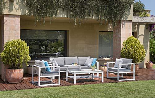 Au jardin de Chloé | Salon de Jardin en Aluminium, Jelly • 2 fauteuils, Un canapé 3 Places, Une Table •