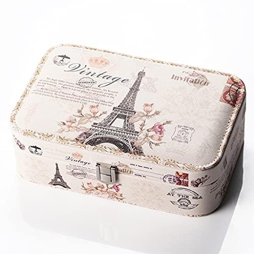 Caja de joyería, caja de almacenamiento, caja de joyería, cuero PU, cerradura, usado para anillos, pendientes, collares, pulseras, relojes, clips de cabello, fácil de transportar, almacenamiento en el