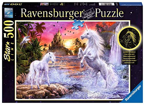 Ravensburger Puzzle 14873 - Einhörner am Fluss - 500 Teile Puzzle für Kinder ab 10 Jahren, Leuchtet im Dunkeln