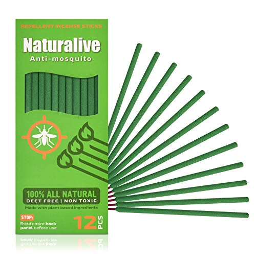 Naturalive Mosquito Repellent Incense Sticks – DEET Free Outdoor Bug Repellent Sticks Made with Natural Plant Ingredients: Citronella, Rosemary & Lemongrass Oil - 12 Sticks Per Box