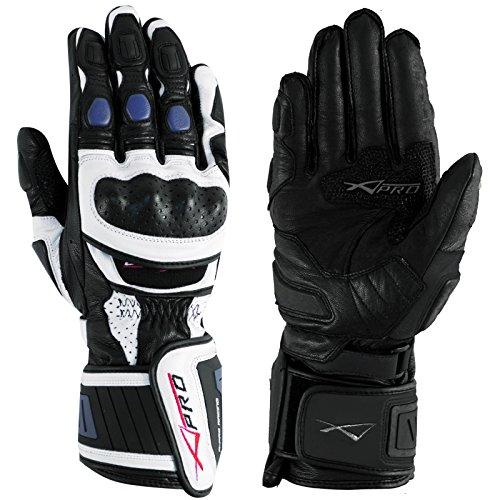 A-Pro Motor Motocicletta handschuher Hochwertige Guanti Bianco/Blu L