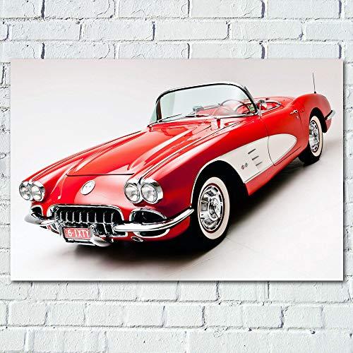 JYWDZSH Leinwanddruck Klassische Oldtimer 1960 Corvette Retro Supercar Fahrzeug Wandkunst Poster Leinwanddrucke Kunst Gemälde Für Wohnzimmer Dekor, 60X90Cm Ohne Rahmen