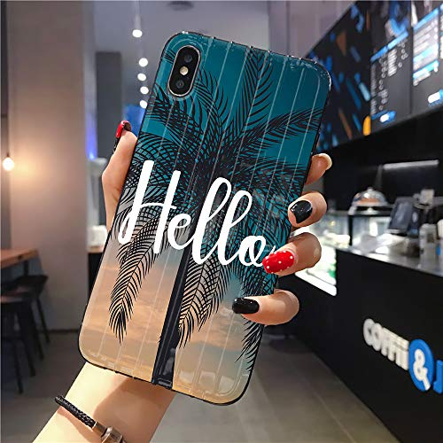 Rocking Giraffe | Compatible with iPhone 11 Pro Max Case | Tough Groove | Soft TPU Engraved Grooves Phone Case | Shockproof Anti-Scratch | Summer Hello Beautiful Sky Palm Tree