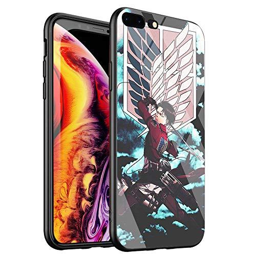 DTYZL Schutzhülle für Handys, gehärtetes Glas, Rückseite aus TPU, weicher Gummi-Silikon-Rahmen für Kratz- und Fallfestigkeit, DT-94 Anime-Cartoon Attack on Titan, for iPhone 7 Plus/8 Plus, 3