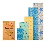 MaeKit Green Beeswax Food Wrap - Eco Friendly Reusable Food Storage - 5 Pack with Extra Large 16'X16' - Sustainable Plastic-Free Food Wraps - Assorted 5 Pack: XS, S, M, L, XL