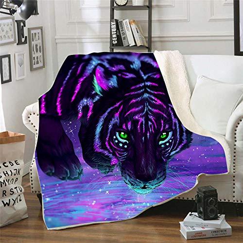 Manta Estampada Tigre Animal Fluorescente Negro Rosa púrpura Terciopelo de Cristal Lateral A, Terciopelo de Lana Blanca Lado B (150 x 200 cm) para Sala de Estar, hogar,