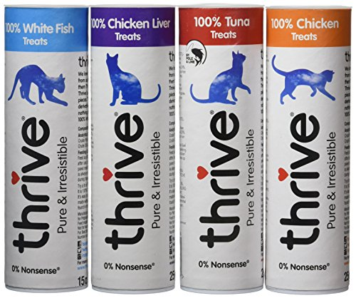 Thrive Cat Treats - Assorted (Chicken, White Fish, Tuna & Chicken Liver). (Pack of 4)