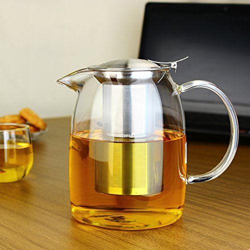 Large tea pot for loose tea, heat resistant, with stainless steel infuser, clear glass, 1200ml, by Toyo Hofu , glass, transparent, 1100ml