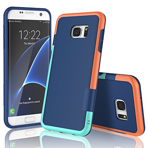 Galaxy S7 Edge Case, TILL(TM) Ultra Slim 3 Color Hybrid Impact Shockproof Anti-Slip Rugged Back Cover Soft TPU Hard PC Bumper Extra Front Raised Lip Case Cover for Samsung Galaxy S7 Edge G935 [Blue]
