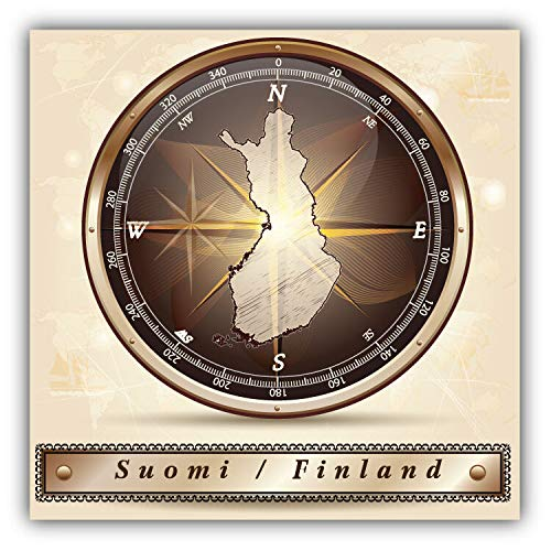 Tamengi Finland Compass Map Car Bumper Sticker Decal 5'' x 5''