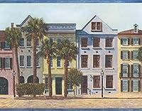 Chesapeake 美しいヨーロッパの都市カラフルなハウスFasadesブルースカイの壁紙ボーダーレトロなデザイン、ロール15' X 6.75