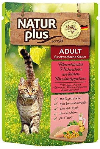 Natur Plus Katzenfutter Blanchiertes Hühnchen an feinen Rindshäppchen 6 x 85 g