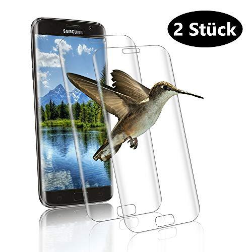 wsiiroon Panzerglas für Samsung Galaxy S7 Edge, [2 Stück] Hochwertige HD Klar Schutzfolie, 9H Härte, Anti-Kratzen und Bläschen Panzerglasfolie, Hüllenfreundlich Glasfolie Displayschutz