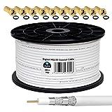 HB-DIGITAL 100m Cable Coaxial HQ-135 Cable de Antena 135dB Cable SAT 8K 4K UHD 4 Veces Apantallado Para Sistemas DVB-S / S2 DVB-C / C2 DVB-T / T2 DAB+ Radio BK + 10 F-Plug GRATIS