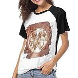 Photo de Ovilsm T-Shirt à Manche Courte Femme, Walls of Jericho Relentless Womens Short Sleeve Raglan Baseball T-Shirt Black