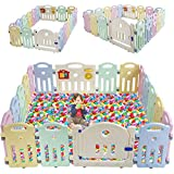 Baby Playpen for Babies Baby Play Playards Infants Toddler Safety Kids Play Pens Indoor Baby Fence with Activity Board (Light, 18Panels)