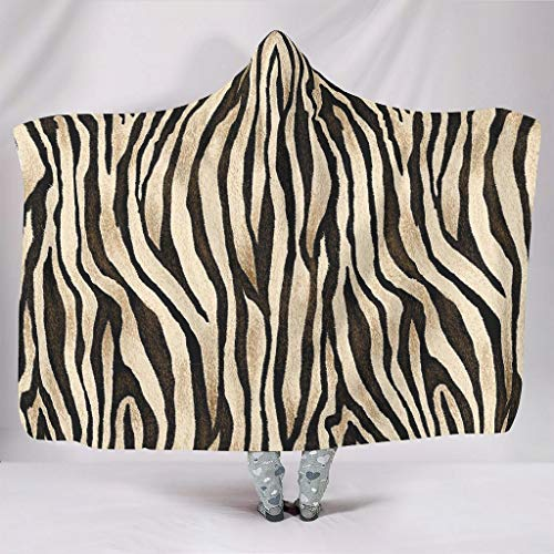 Fineiwillgo Manta con capucha sin costuras, de piel de tigre, supersuave, con capucha, para mujer, sofá, sillón, color blanco, 150 x 200 cm