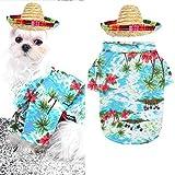 Playera hawaiana para mascotas de verano, ropa de campamento y sombrero de paja mexicana ajustable Sombrero transpirable estilo resort playa flor fresco verano fiesta jardín disfraz