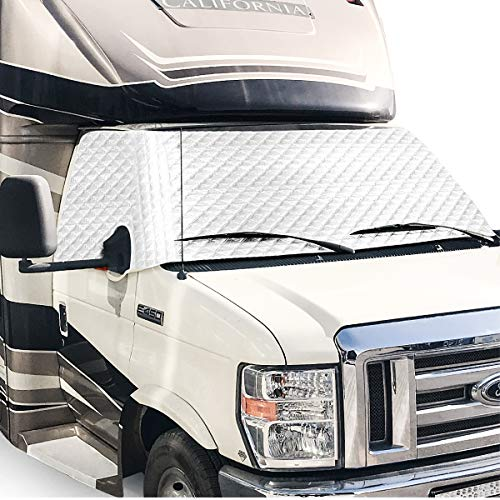 PAUTO-P RV Windshield Cover for Class C Ford 1997-2020,RV Windshield Window Snow Cover, Motorhome Windshield Cover for RV Front Window