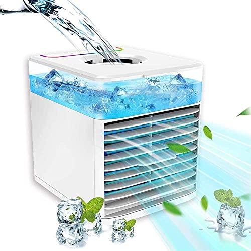 GONGFF Humidificador evaporativo portátil Personal, 4 en 1, purificador, Ventilador de Escritorio con LED de 7 Colores, 3 velocidades de Viento para el hogar, Dormitorio, Oficina