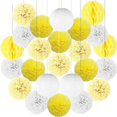 Party Paper Decorations 24Pcs/Set White Blue Party Paper Big Lantern Tissue Pompoms Flower Honeycomb Ball Baby Shower Kids Birthday Wedding Decorations