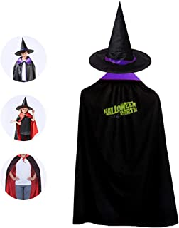 Kids Halloween Cloak with Witch Hat,Halloween Party Logo Wizard Cap Christmas Party Costume