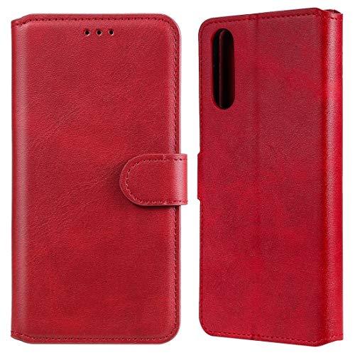 BAIYUNLONG Funda Protectora, for Sony Xperia 10 II Becerro clásico de la Textura de la PU + TPU Horizontal Flip Funda de Cuero, con el sostenedor y Ranuras for Tarjetas y Monedero (Color : Red)