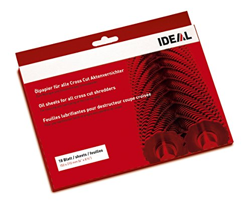 IDEAL Ölpapier (Schmiermittelblätter) für Aktenvernichter zum Reinigen und Schmieren des Schneidwerks (18 Blatt)