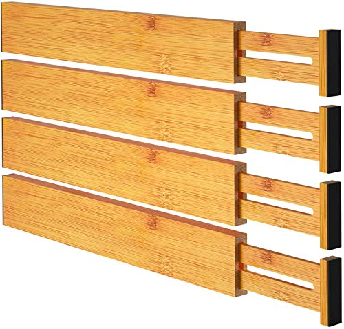 Bamboo Drawer Dividers Wood Cabinet Drawer Organizers Spring Adjustable & Expandable Drawer Separators (17.5 to 22 IN) for Home Kitchen, Closet, Dresser, Bathroom, and Office by Pipishell (Set of 4)