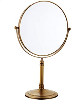 RFJJAL Vanity Mirror Double-Sided Makeup Mirror - Make Up Vanity Mirror with 3X Magnification /360 Rotation Round Copper Dressing Mirror (Color : Antique Gold)
