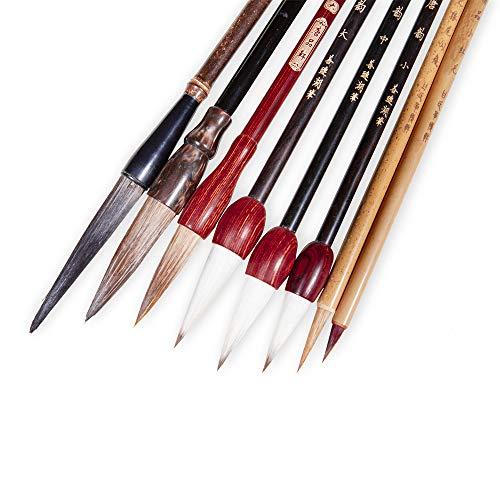 Corciosy Chinese Calligraphy Brush Set ,Writing Brush Professional Kanji Japanese Sumi-e Painting Brushes 8 piece/set+Roll-up Bamboo Brush Holder