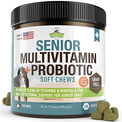 Senior Dog Vitamins and Supplements -120 Grain-Free Chewable Multi Vitamin - Senior Multivitamin for Dogs, Pet Glucosamine Chondroitin Joint Support, Arthritis, Immune Booster, Skin, Coat, Probiotics