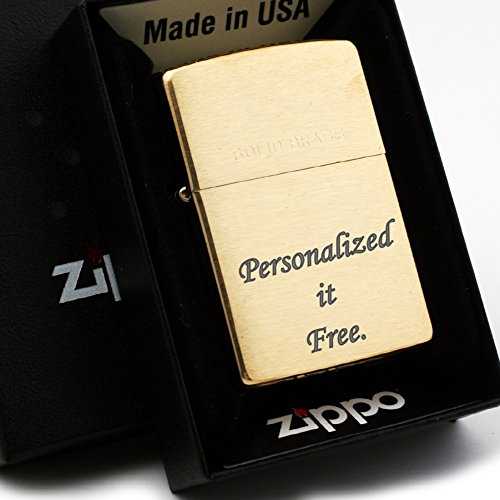 Free Engraving - Personalized Groomsman Zippo Lighter Windproof with Solid Brass 204 - Perfect for Boyfriend, Anniversary - Three Lines, Each 20 Characters, Free Customization