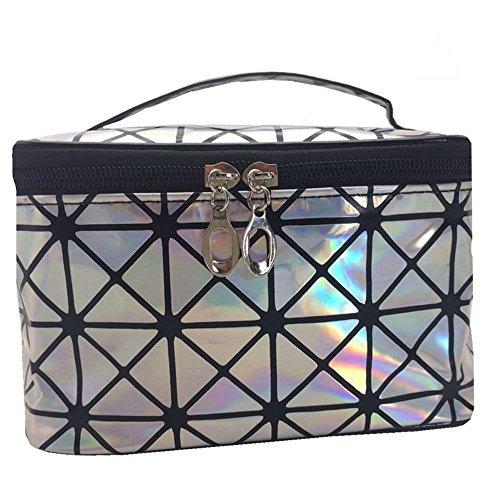 Wasserdichte PU-Reise-Kulturbeutel, Make-up-Organizer, große Kapazität, Kosmetikkoffer, professionelle Kosmetikbox mit Spiegel Gr. One size, silber