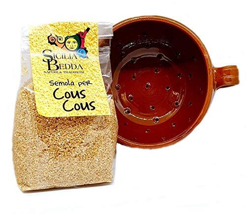 Sizilia Bedda – Kouscoussiere aus Terrakotta – 100 % handgefertigt, traditionell – Gratis Verpackung von Samen für Couscous Bohrer (9 x 6 cm, Durchmesser ca. 6 cm)