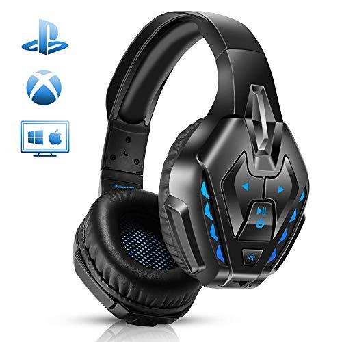 PHOINIKASゲーミングヘッドセットps4ヘッドセットマイク付きPCゲーミングヘッドホン有線無線両用スイッチbluetoothヘッドフォン高音質LEDノイズキャンセリング軽量騒音抑制伸縮可能ヘッドホンゲーム用PS5PS4パソコンスカイプfps対応男女兼用プレゼント(ブルー)