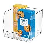 InterDesign Linus cajoneras de plástico XL | Organizador armarios para alimentos o utensilios de cocina | Apilables y con apertura lateral | Plástico transparente
