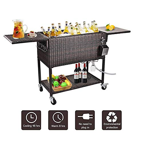 URRED Wicker Cooler Cart, 80 Quart Rattan Rolling Cooler Cart Wicker Ice Chest Cooler Trolley for Outdoor Patio Deck Party, Beverage Bar Backyard Stand Up Cooler with Wheels and Outer Cover (Brown)
