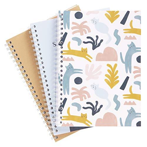 kikki.K Back to School Designer Collection – A5 Spiralheft, 3 Stück, Katzen-Muster, inkl. 120 bedruckten, linierten Seiten, mit weichem Einband aus Papier, Maße: 15 x 21 x 0,7 cm (L x B x H)