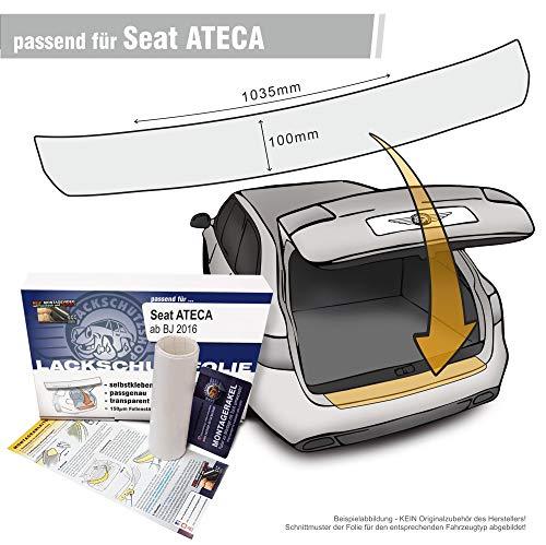 Passend für Seat Ateca ab 2016 - Passform Lackschutzfolie als Selbstklebender Ladekantenschutz (Autofolie und Schutzfolie) transparent 150µm