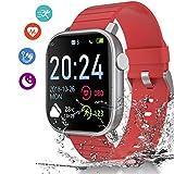 Smartwatch Reloj Inteligente, IP68 Impermeable 1.4 Pantalla Táctil Completa con Pulsómetro Cronómetro Pulsera Deporte con iOS y Android for para Hombres Mujeres Niño (Rojo)