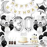 SPECOOL 30 Decoración Cumpleaños Globos , Globos Cumpleaños Decoracion de Globos Blancos Negros y Plateados Globos Negros para Fiesta de Cumpleaños para Hombres 30 Años Niño Niña