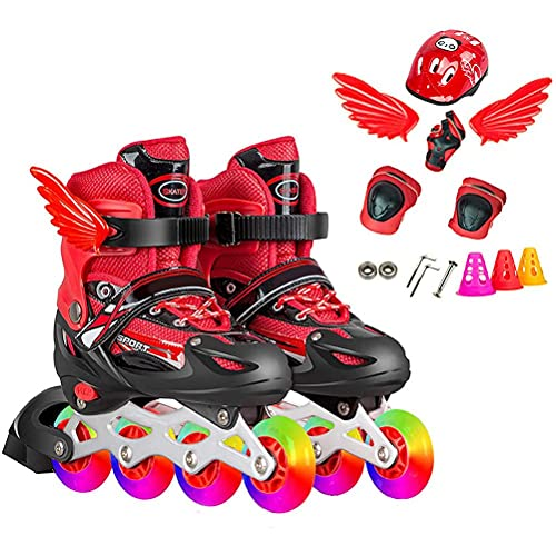 Freshwater Inline Skates,Roller Skates with Flashing LED Wheels & Protective Set Childrens Helmet Protective Equipment Inline Protector Set with Knee Pads for Inline Skateboard, Red (S)