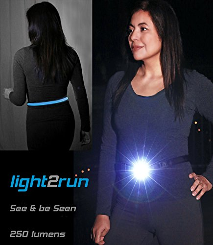 LIGHTWALKER Night Running Light Belt, Front LED Rechargeable Headlamp Alternative, Bright 250 Lumens & Belt Safety Light for Night Runners & Dog Walking, See and Be Seen, Unique