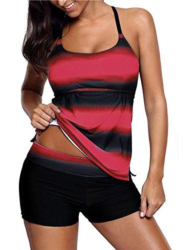 Sixyotie Damen Mehrfarbig Tankini mit Oberteile und Badeshorts Badeanzug Beachwear Zweiteiler Bademode mit Bügeln UV Schutz (Rot, EU 42 (2XL))