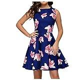 Vestidos de Mujer ASHOP Vestido sin Mangas con Cuello Redondo Floral de Moda para Mujer Vestido con Columpio Grande con Cremallera de Bolsillo (Armada,XL)