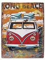 アメリカン ブリキ看板 LONG BEACH/ワーゲンバス ロングビーチ エンボス(凸凹)カリフォルニア(AZ/6828)ティンサイン/メタルサイン 看板 ガレージ カフェ 雑貨 アメリカン雑貨 アメリカ雑貨屋 看板