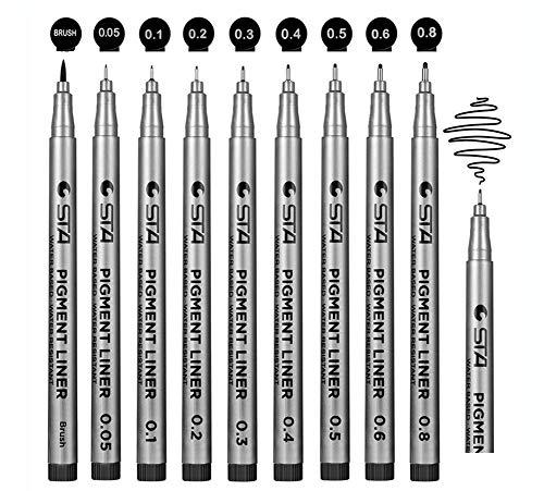 Penne a inchiostro nero Fineliner Micro-Pen Penne per archivio Penne per pigmenti nere Penne per disegno tecnico a punta ultra fine per schizzi d'arte - Set di 9 (9 pezzi) (9 pezzi) (9 pezzi)