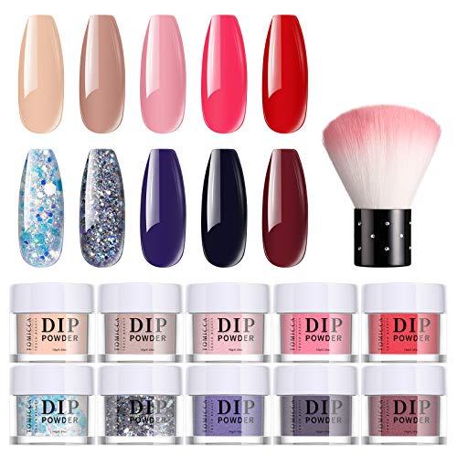 TOMICCA 10 Farben Dip Pulver Nagel Starter Kit, 10g Nude Rosa Rot Blau und Glitzer Dipping Powder Nail Kit, Dip-Puder für Fingernägel